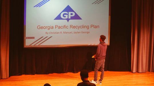 Junior Achievement recently made a stop at Georgia-Pacific headquarters to display their new initiative, 3DE, a program that re-engineers high school education nationwide.
